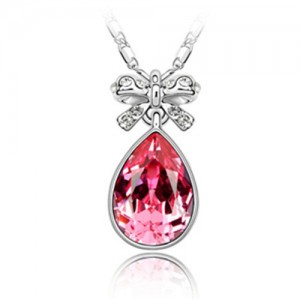 Delicate Bowknot Embellished Angel Tear Austrian Crystal Platinum Plated Necklace - Rose