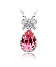 Delicate Bowknot Embellished Angel Tear Austrian Crystal Platinum Plated Necklace - Rose