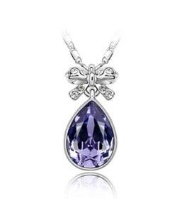 Delicate Bowknot Embellished Angel Tear Austrian Crystal Platinum Plated Necklace - Violet
