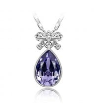 Delicate Bowknot Embellished Angel Tear Austrian Crystal Platinum Plated Necklace - Violet