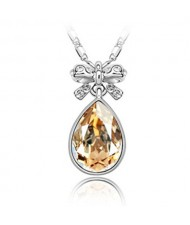 Delicate Bowknot Embellished Angel Tear Austrian Crystal Platinum Plated Necklace - Champagne