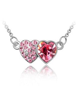 Austrian Crystal Romantic Twin Hearts Pendant Necklace - Rose