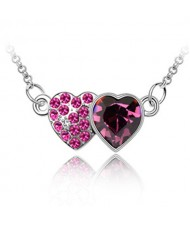 Austrian Crystal Romantic Twin Hearts Pendant Necklace - Violet