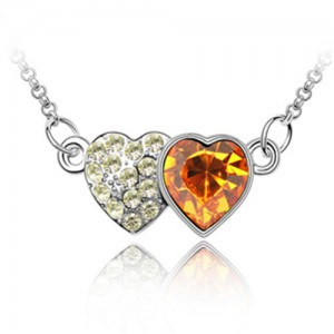 Austrian Crystal Romantic Twin Hearts Pendant Necklace - Yellow
