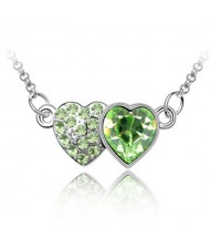 Austrian Crystal Romantic Twin Hearts Pendant Necklace - Olive