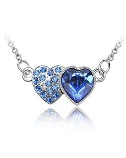 Austrian Crystal Romantic Twin Hearts Pendant Necklace - Blue