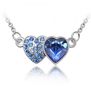 Austrian Crystal Romantic Twin Hearts Pendant Necklace - Blue
