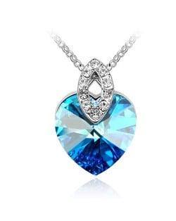 Graceful Austrian Crystal Heart Pendant Fashion Necklace - Blue