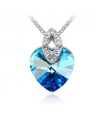 Graceful Austrian Crystal Heart Pendant Fashion Necklace - Blue