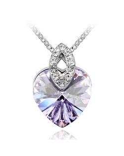 Graceful Austrian Crystal Heart Pendant Fashion Necklace - Violet