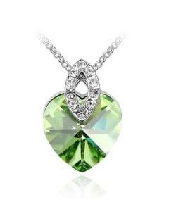 Graceful Austrian Crystal Heart Pendant Fashion Necklace - Olive