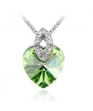 Graceful Austrian Crystal Heart Pendant Fashion Necklace - Olive