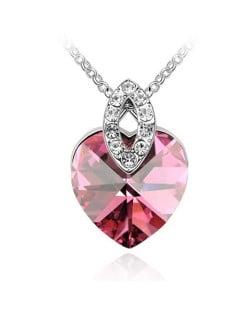 Graceful Austrian Crystal Heart Pendant Fashion Necklace - Rose