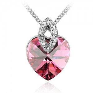 Graceful Austrian Crystal Heart Pendant Fashion Necklace - Rose