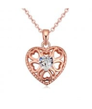 Austrian Crystal Embellished Hollow Peach Heart Pendant Necklace - White