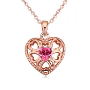 Austrian Crystal Embellished Hollow Peach Heart Pendant Necklace - Rose