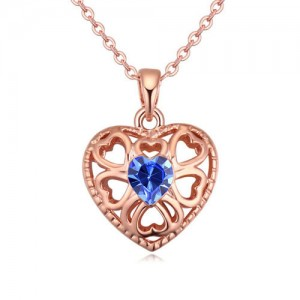 Austrian Crystal Embellished Hollow Peach Heart Pendant Necklace - Blue