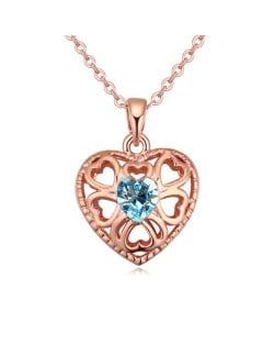 Austrian Crystal Embellished Hollow Peach Heart Pendant Necklace - Aquamarine