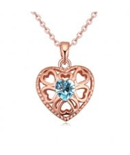 Austrian Crystal Embellished Hollow Peach Heart Pendant Necklace - Aquamarine