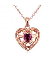 Austrian Crystal Embellished Hollow Peach Heart Pendant Necklace - Wine Red