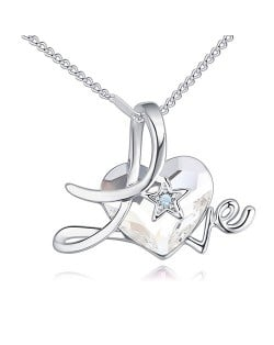 Austrian Crystal Heart Inlaid Love Theme Romantic Fashion Necklace - White