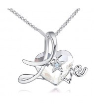 Austrian Crystal Heart Inlaid Love Theme Romantic Fashion Necklace - White