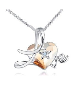 Austrian Crystal Heart Inlaid Love Theme Romantic Fashion Necklace - Golden