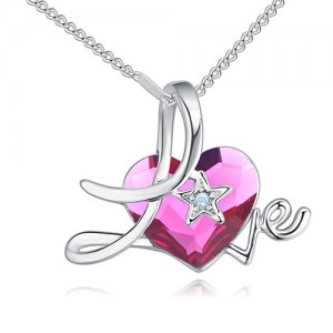 Austrian Crystal Heart Inlaid Love Theme Romantic Fashion Necklace - Red