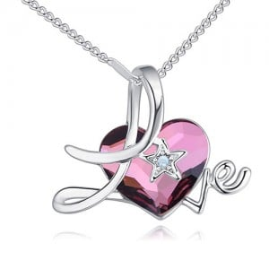Austrian Crystal Heart Inlaid Love Theme Romantic Fashion Necklace - Purple
