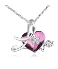 Austrian Crystal Heart Inlaid Love Theme Romantic Fashion Necklace - Purple