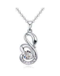 Shining Austrian Crystal Embellished Swan Pendant Necklace - White