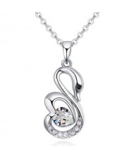 Shining Austrian Crystal Embellished Swan Pendant Necklace - White