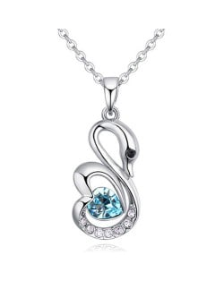 Shining Austrian Crystal Embellished Swan Pendant Necklace - Aquamarine