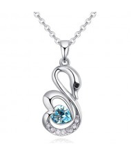 Shining Austrian Crystal Embellished Swan Pendant Necklace - Aquamarine