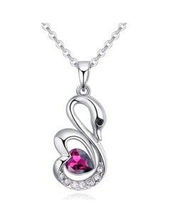 Shining Austrian Crystal Embellished Swan Pendant Necklace - Reddish Purple