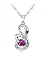 Shining Austrian Crystal Embellished Swan Pendant Necklace - Reddish Purple