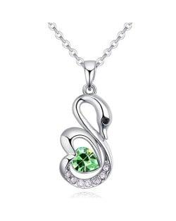 Shining Austrian Crystal Embellished Swan Pendant Necklace - Olive