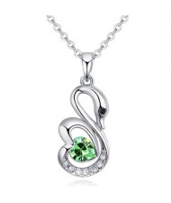Shining Austrian Crystal Embellished Swan Pendant Necklace - Olive
