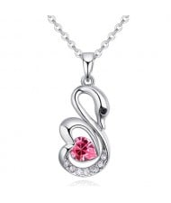 Shining Austrian Crystal Embellished Swan Pendant Necklace - Rose