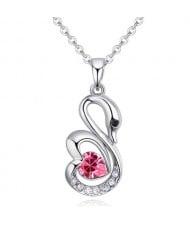 Shining Austrian Crystal Embellished Swan Pendant Necklace - Rose