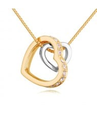 Austrian Crystal Embellished Dual Hearts Necklace - Color 1