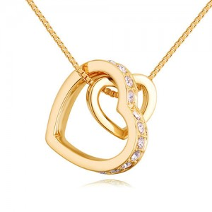 Austrian Crystal Embellished Dual Hearts Necklace - Color 2