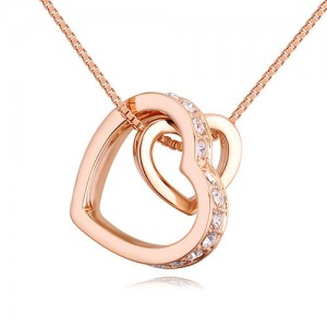 Austrian Crystal Embellished Dual Hearts Necklace - Color 3