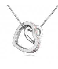 Austrian Crystal Embellished Dual Hearts Necklace - Color 4