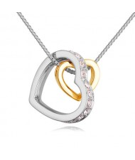 Austrian Crystal Embellished Dual Hearts Necklace - Color 5