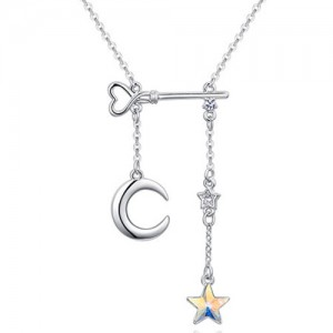 Star Moon and Key Assorted Elements Austrian Crystal Necklace - Colorful White