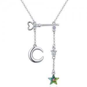 Star Moon and Key Assorted Elements Austrian Crystal Necklace - Colorful Green