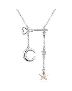 Star Moon and Key Assorted Elements Austrian Crystal Necklace - Champagne