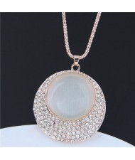 Opal and Rhinestone Embellished Round Pendant Long Style Golden Costume Necklace