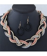 Weaving Braids Design Chunky Necklace and Earrings Set - Mixed Color